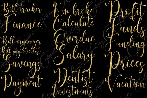 Gold Glitter Monthly Bill Word Art Graphic By fantasycliparts Image 2