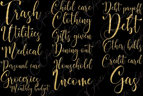 Gold Glitter Monthly Bill Word Art Graphic By fantasycliparts Image 4