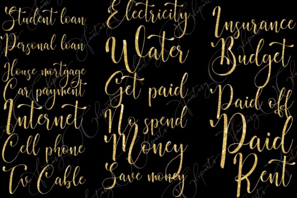 Gold Glitter Monthly Bill Word Art Graphic By fantasycliparts Image 5