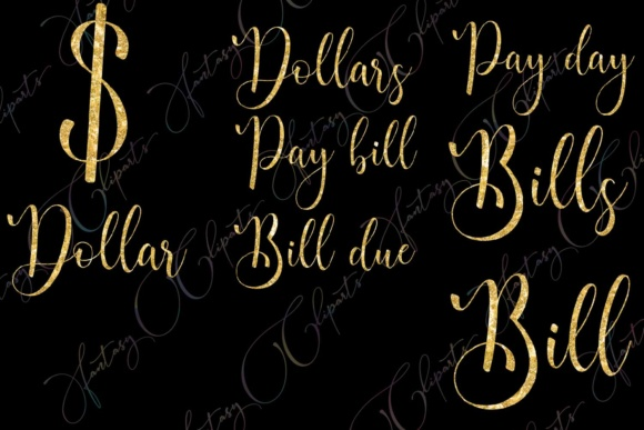 Gold Glitter Monthly Bill Word Art Graphic By fantasycliparts Image 6