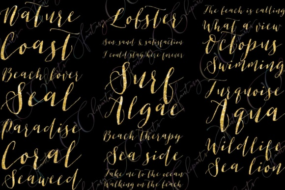 Gold Glitter Ocean Word Art Clipart Graphic By fantasycliparts Image 2