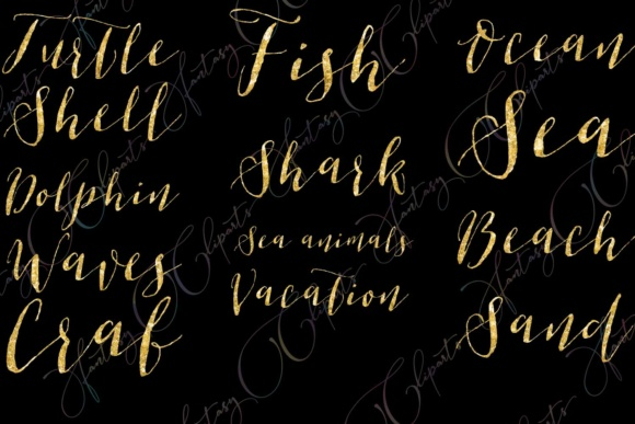 Gold Glitter Ocean Word Art Clipart Graphic By fantasycliparts Image 4