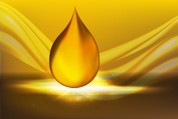 Golden Oil Drops on Yellow Background with Shining Rays Graphic By ojosujono96