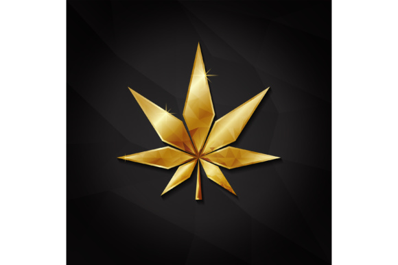 Print on Demand: Golden Cannabis Graphic Logos By sabavector
