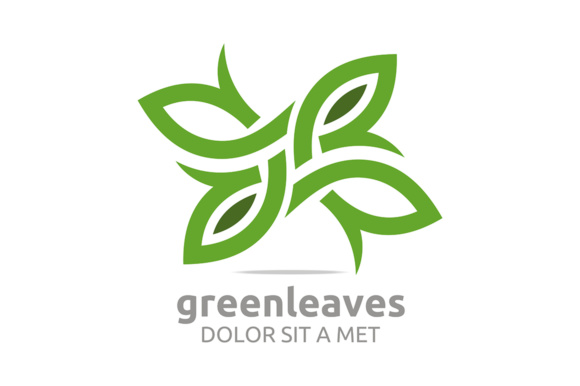 Green Leaves Graphic Logos By Acongraphic