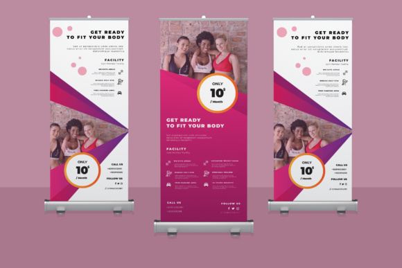 Gym Rollup Banner 01 Graphic Print Templates By TMint - Image 1