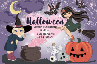 HALLOWEEN Clipart & Digital Print Set Color Vector Illustration Graphic By FARAWAYKINGDOM