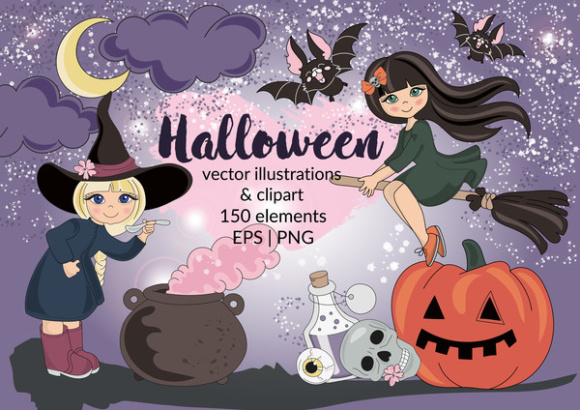 Download Free Halloween Clipart Digital Print Set Color Vector Illustration for Cricut Explore, Silhouette and other cutting machines.