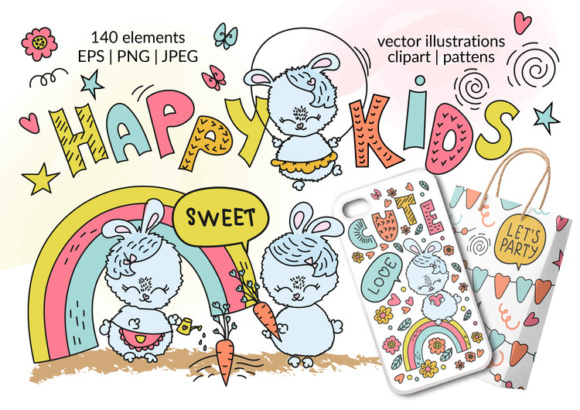 HAPPY KIDS Vector Illustration Seamless Pattern Alphabet Set Graphic Illustrations By FARAWAYKINGDOM