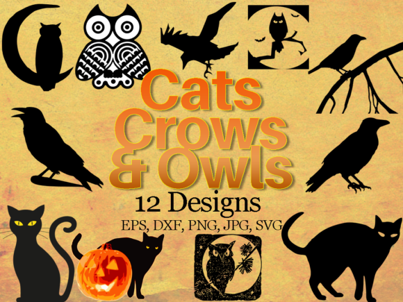 Download Free Halloween Animals Bundle Cats Crows And Owls Graphic By for Cricut Explore, Silhouette and other cutting machines.