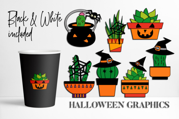 Download Free Halloween Cacti Succulent Plant Graphic By Darrakadisha for Cricut Explore, Silhouette and other cutting machines.