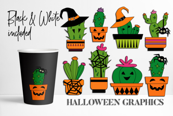Download Free Halloween Cactus Graphic By Darrakadisha Creative Fabrica for Cricut Explore, Silhouette and other cutting machines.