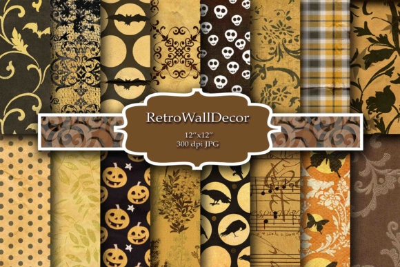 Print on Demand: Halloween Digital Paper Graphic Backgrounds By retrowalldecor