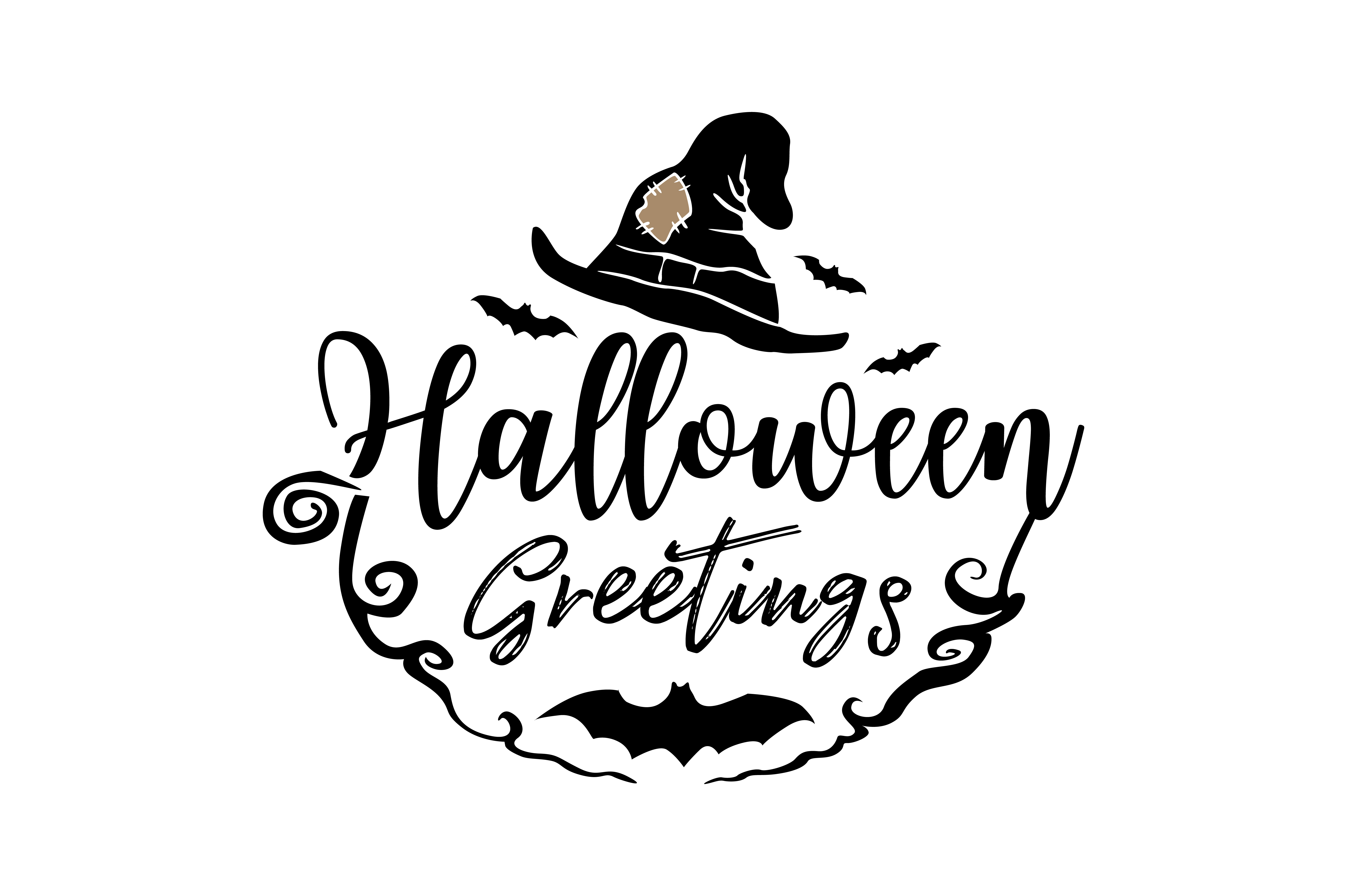 Download Free Halloween Greetings Graphic By Thelucky Creative Fabrica for Cricut Explore, Silhouette and other cutting machines.