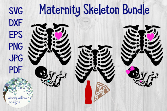 Halloween Maternity Pregnancy Skeleton Costume Graphic Crafts By WispyWillowDesigns