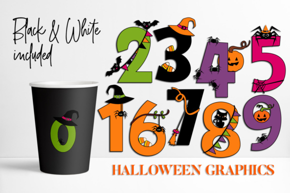 Print on Demand: Halloween Numbers Graphic Illustrations By DarraKadisha