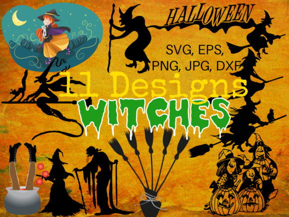 Print on Demand: Halloween Witches Bundle Graphic Illustrations By Quiet Deluxe Digital