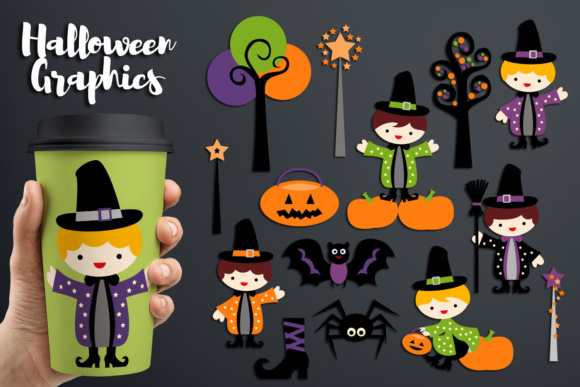 Print on Demand: Halloween Wizard Boy Graphic Illustrations By Revidevi