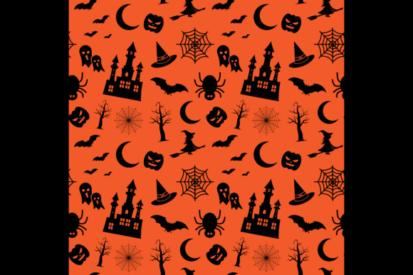 Print on Demand: Halloween Background, Seamless Pattern Graphic Patterns By sabavector