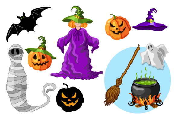 Halloween Cartoon Style Graphic Set Grafico Por Tasipas