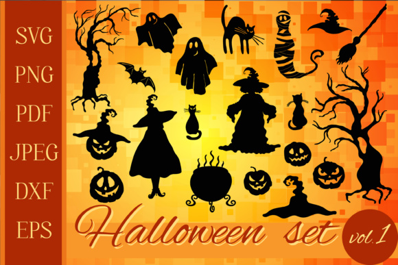Download Free Halloween Graphic Set 20 In 1 Graphic By Tasipas Creative Fabrica for Cricut Explore, Silhouette and other cutting machines.