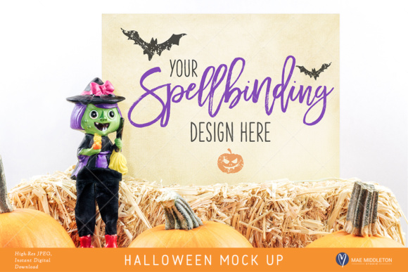 Halloween Mock Up, Witch Styled Stock, 2 Options Hi-res JPG