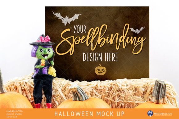 Halloween Mock Up, Witch Styled Stock, 2 Options Hi-res JPG Graphic Product Mockups By maemiddletonstudio