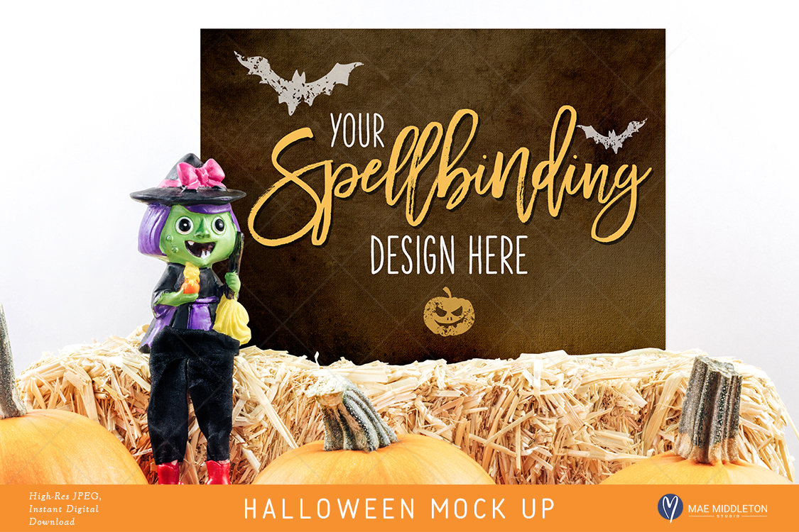 Download Free Halloween Mock Up Witch Styled Stock 2 Options Hi Res Graphic for Cricut Explore, Silhouette and other cutting machines.