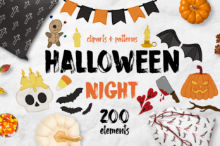 Halloween Night Bundle + 200 Elements Graphic By arausidp