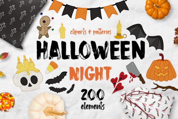 Print on Demand: Halloween Night Bundle + 200 Elements Graphic Illustrations By arausidp