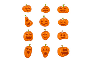 Download Free Halloween Pumpkins Icons Graphic By Sabavector Creative Fabrica for Cricut Explore, Silhouette and other cutting machines.
