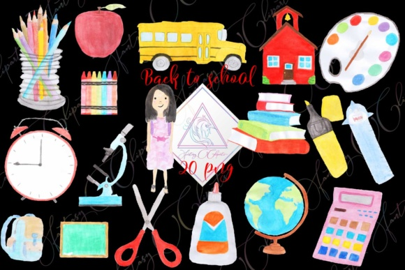 Print on Demand: Hand Drawn Watercolor Back to School Clipart Graphic Illustrations By fantasycliparts