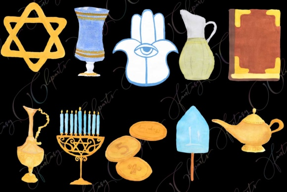Hand Drawn Watercolor Hanukkah Clipart Graphic By fantasycliparts Image 2