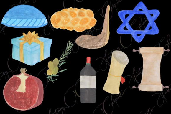 Hand Drawn Watercolor Hanukkah Clipart Graphic By fantasycliparts Image 3