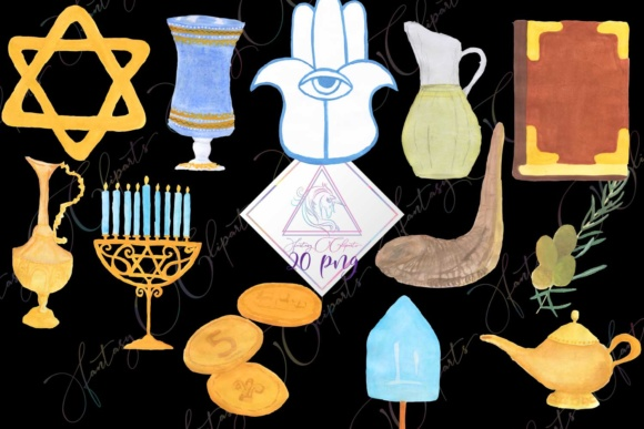 Hand Drawn Watercolor Hanukkah Clipart Graphic By fantasycliparts Image 1