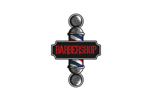 Hand Drawn Barber Pole Vintage Logo Graphic By