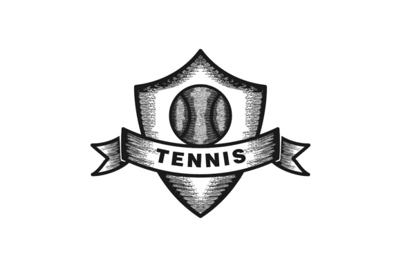 Download Free Hand Drawn Tennis Badge Logo Design Graphic By for Cricut Explore, Silhouette and other cutting machines.
