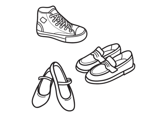 Hand drawn outline shoes icon.