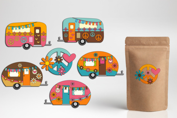 Print on Demand: Happy Camper Hippie Caravan Graphic Illustrations By DarraKadisha