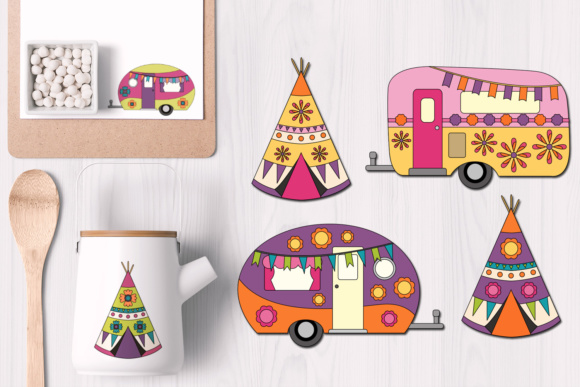 Print on Demand: Happy Camper and Teepee Tent Graphic Illustrations By Revidevi