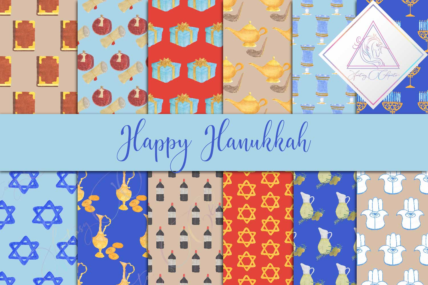 Download Free Happy Hanukkah Digital Paper Graphic By Fantasycliparts for Cricut Explore, Silhouette and other cutting machines.