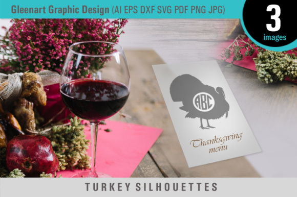 Download Free Happy Thanksgiving Turkey Silhouettes Graphic By Gleenart for Cricut Explore, Silhouette and other cutting machines.