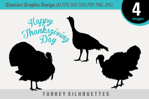 Happy Thanksgiving Turkey Silhouettes Graphic Icons By Gleenart Graphic Design