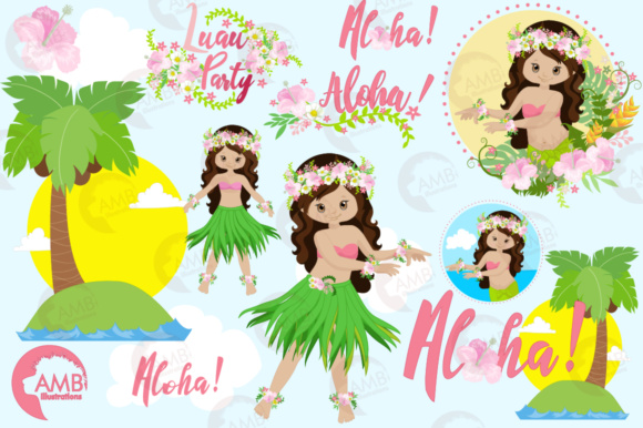 Download Free Hawaiian Girl Clipart Graphic By Ambillustrations Creative Fabrica for Cricut Explore, Silhouette and other cutting machines.