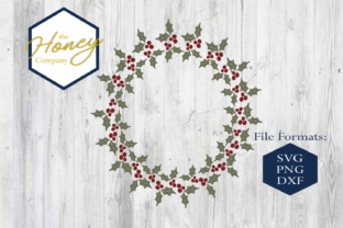 Download Free Holly Wreath Graphic By The Honey Company Creative Fabrica for Cricut Explore, Silhouette and other cutting machines.