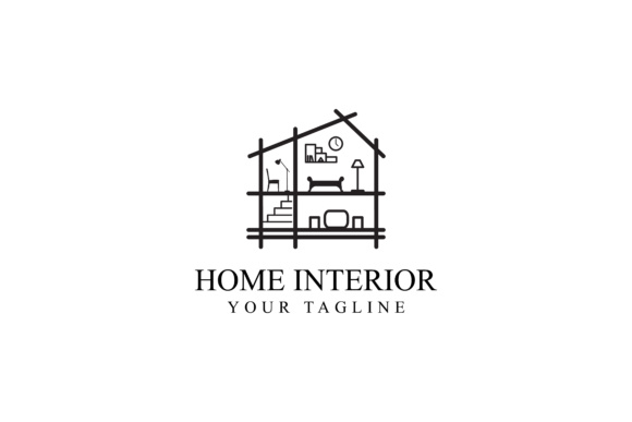 Print on Demand: Home Interior Logo Design Graphic Logos By sabavector
