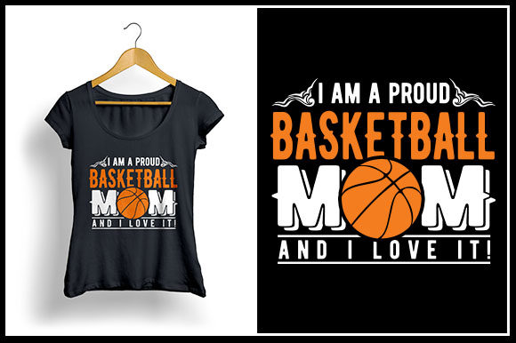 Download Free I Am A Proud Basketball Mom And I Love It Graphic By Zaibbb for Cricut Explore, Silhouette and other cutting machines.