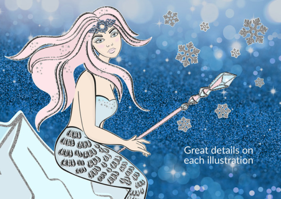 Download Free Ice Mermaid Glitter Winter Christmas Sea Ocean Illustration Set for Cricut Explore, Silhouette and other cutting machines.