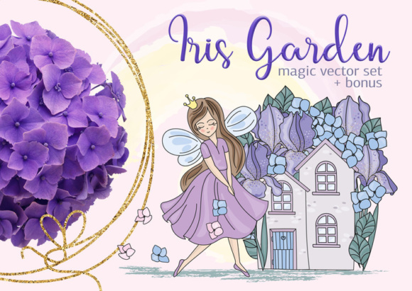 Print on Demand: Iris Garden Color Vector Illustration Set Graphic Illustrations By FARAWAYKINGDOM
