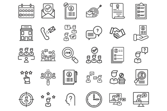 Print on Demand: Interview Icons Set Graphic Icons By RE stock